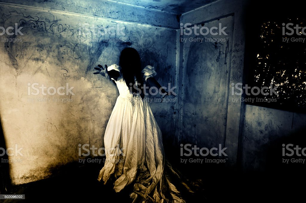 Ghost Woman in Ruins Place stock photo