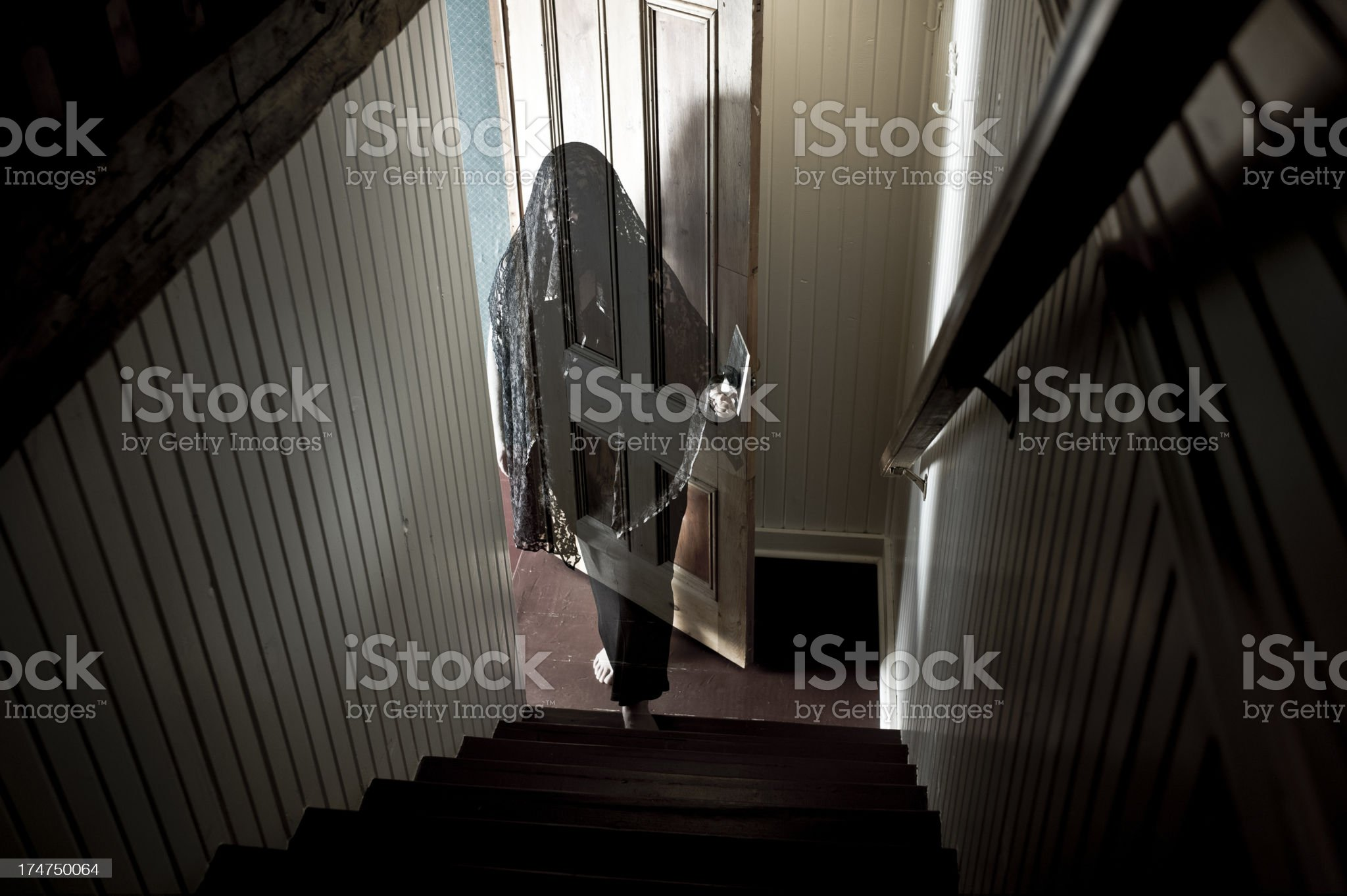 Ghost Woman with Meat Cleaver royalty-free stock photo