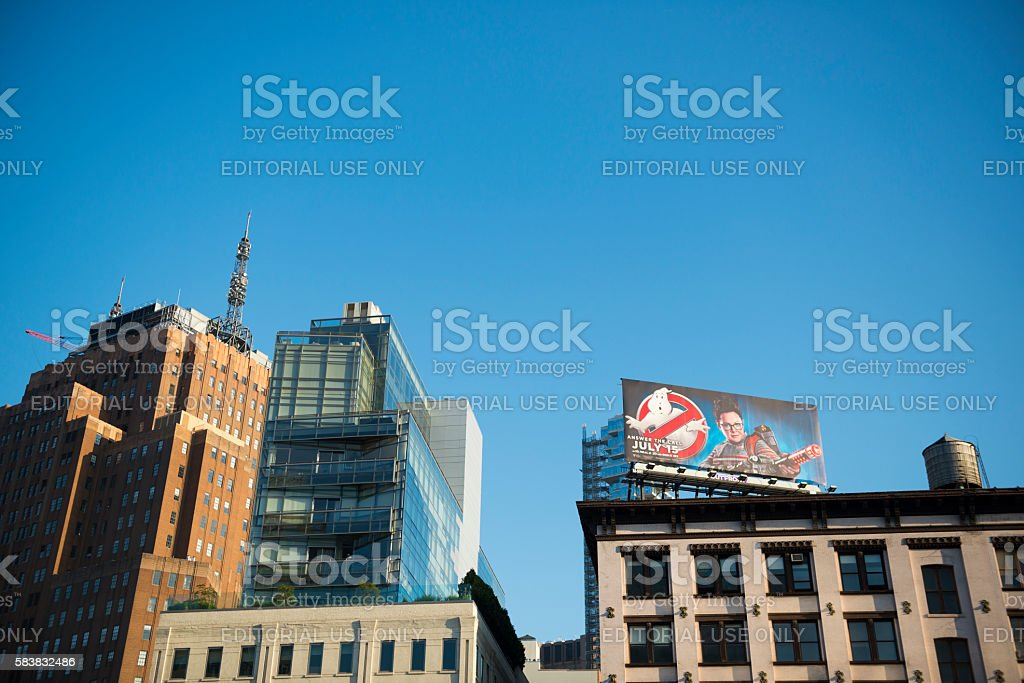 Ghostbusters movie billboard in New York City stock photo