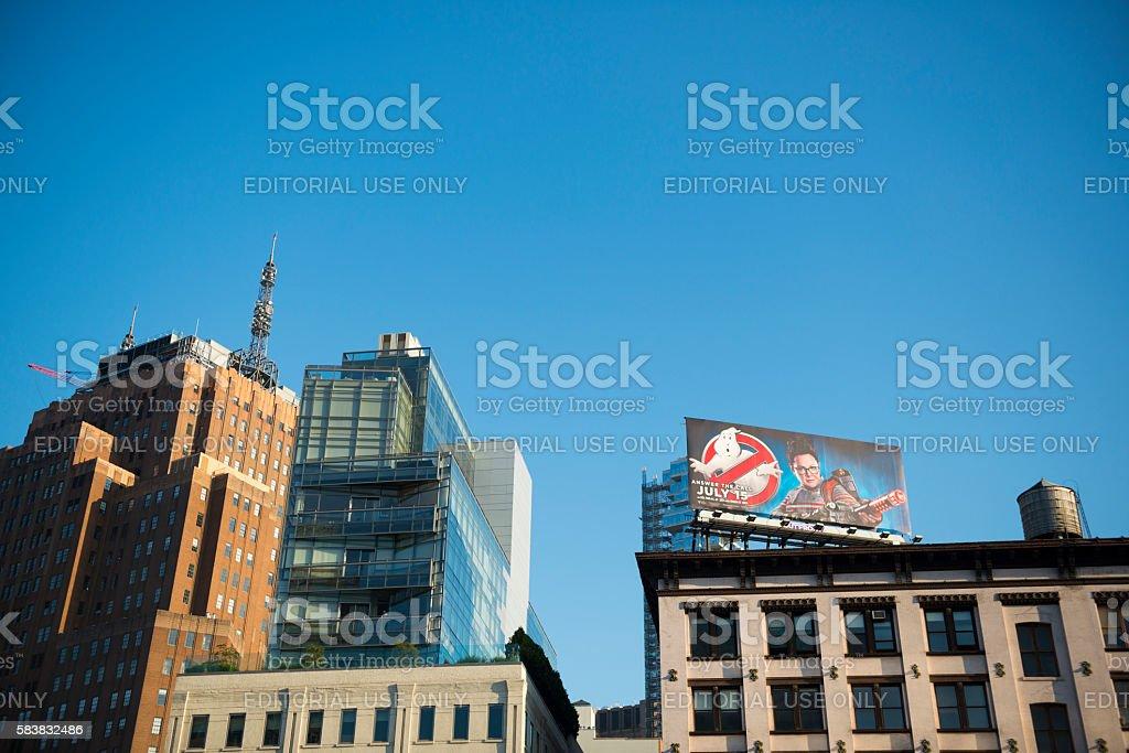 Ghostbusters movie billboard in New York City stock photo