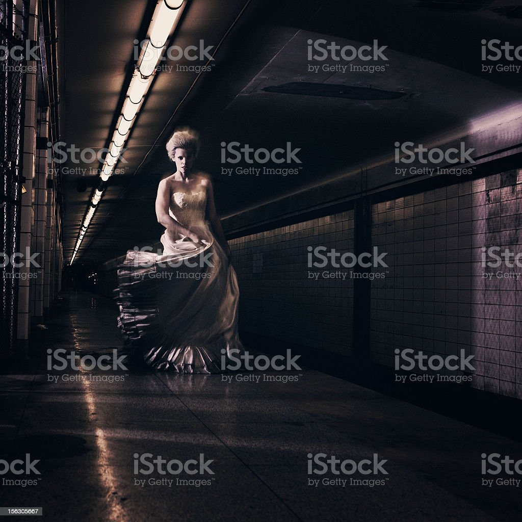 ghostly bride in the subway royalty-free stock photo