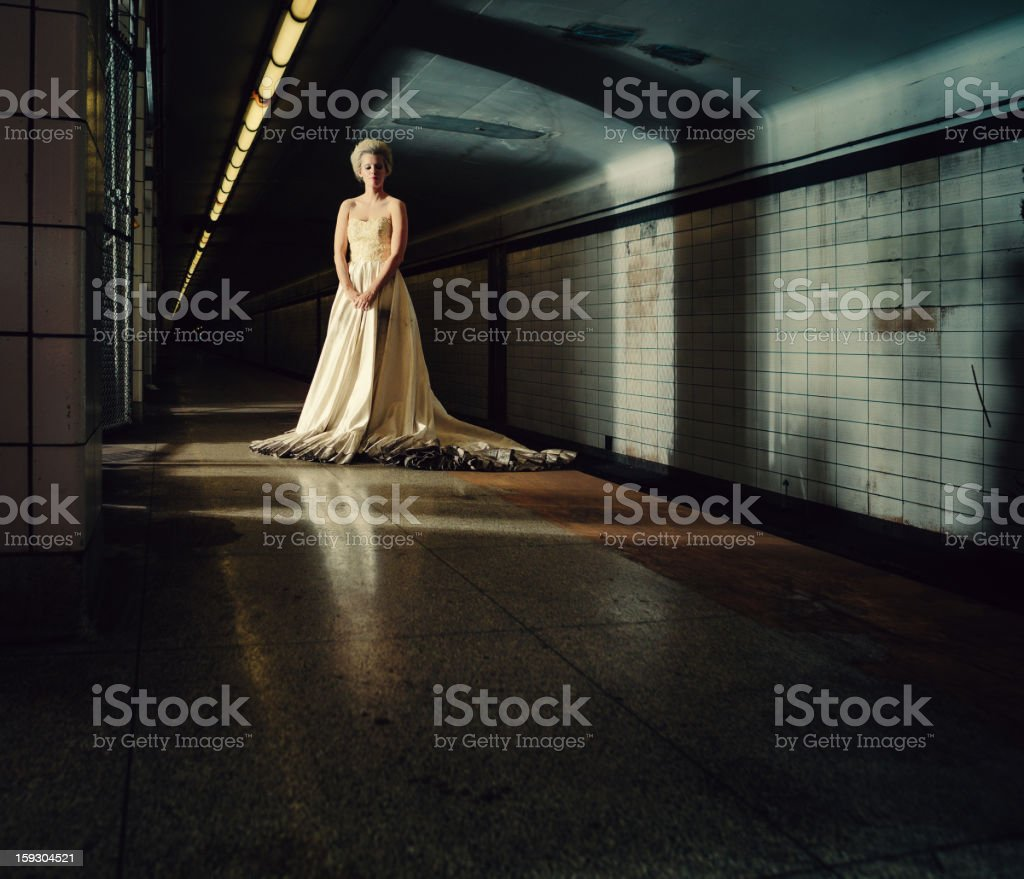 ghostly bride in the subway stock photo