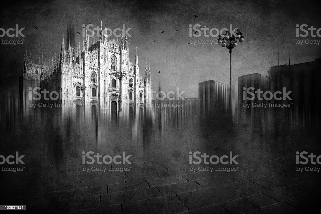 Ghostly Duomo Di Milano royalty-free stock photo