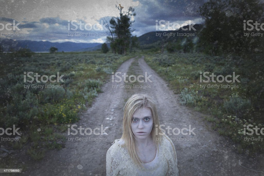 Ghostly Spirit on a Road stock photo