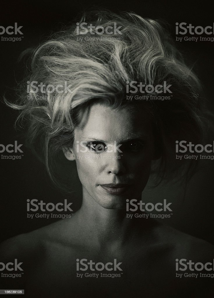 Ghostly woman portrait stock photo