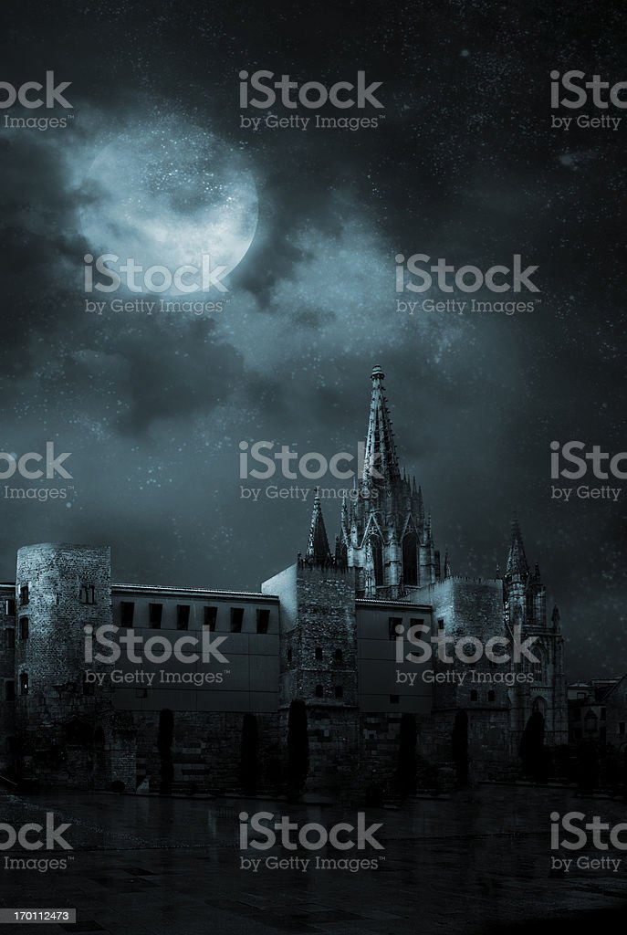 Ghosts in the empty town stock photo