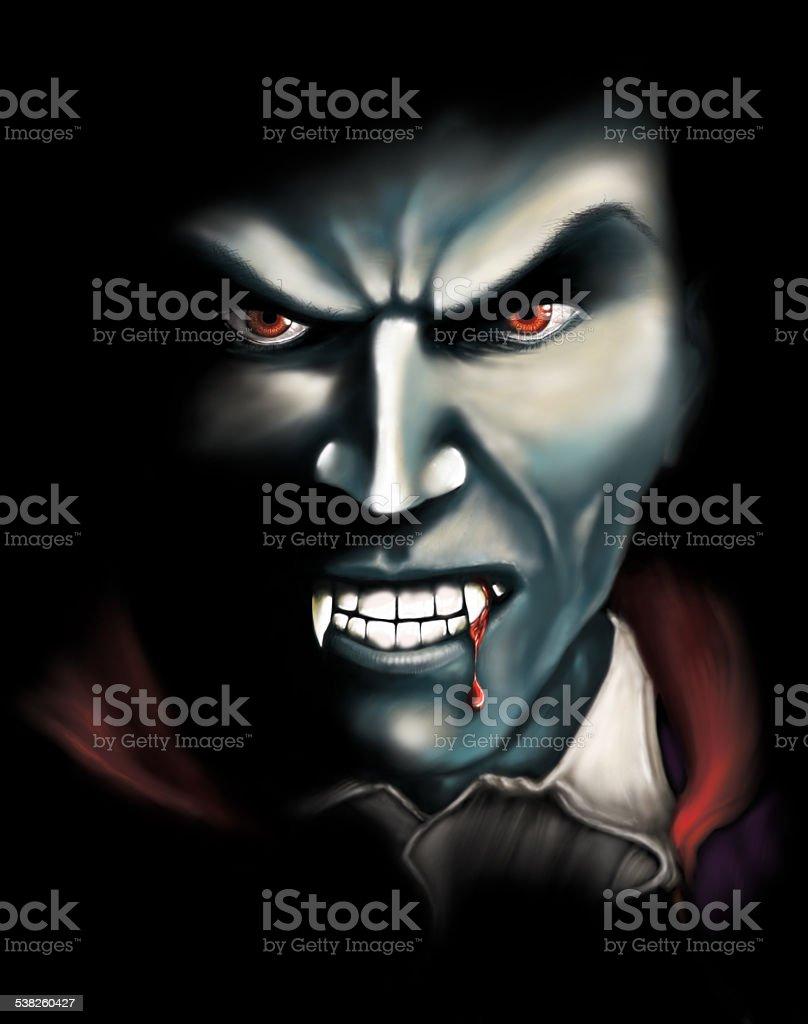 Ghoulish Vampire Digital Illustration stock photo