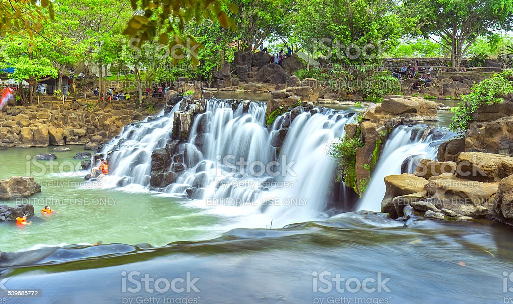 Giang Dien waterfall closeup seen from above stock photo