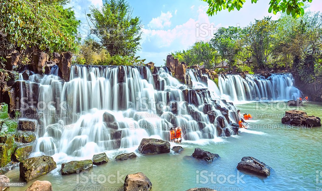 Giang Dien Waterfall in early sunny stock photo