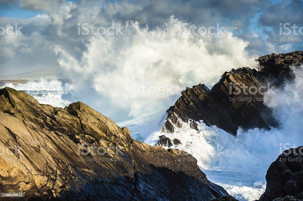 Giant Atlantic Ocean wave Shetland Sumburgh Head stock photo