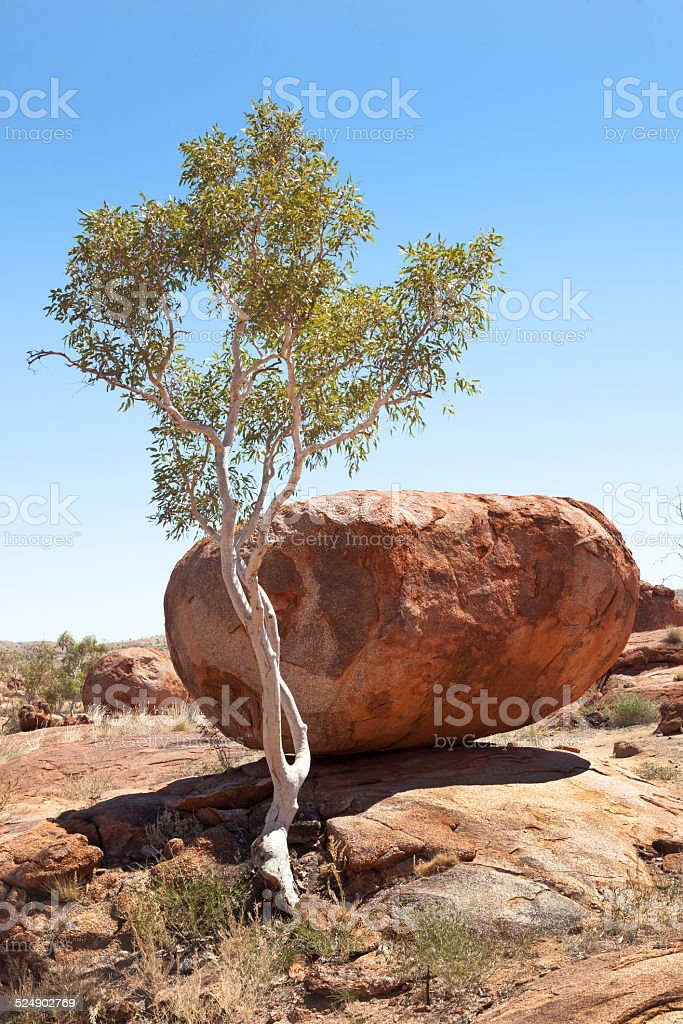 giant boulders Devils Marbles Australia stock photo