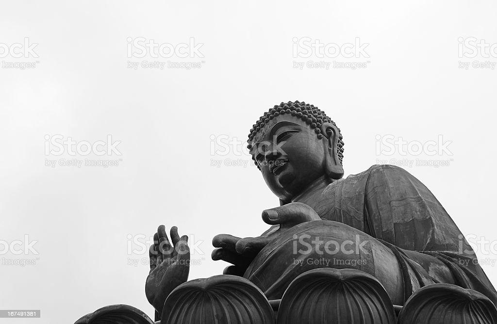 Giant bronze Tian Tan Buddha in Lantau Island, Hong Kong royalty-free stock photo