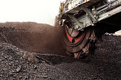 Giant bucket wheel excavator for digging the brown coal