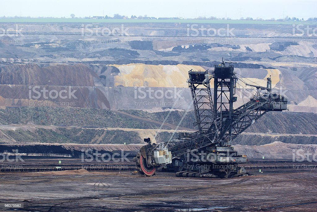 Giant bucket wheel excavator in an open pit royalty-free stock photo
