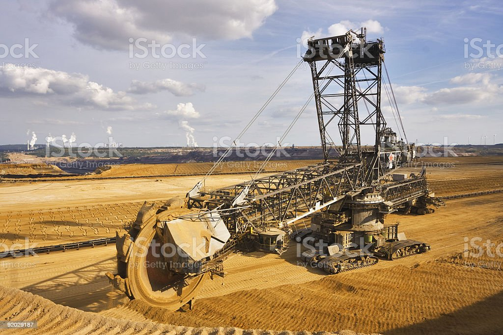 Giant bucket wheel excavator in the dirt royalty-free stock photo