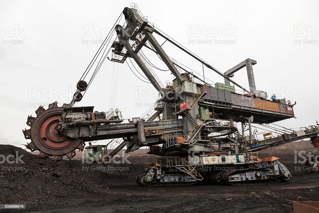Giant bucket wheel excavator stock photo