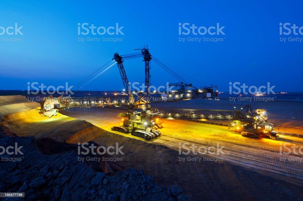 Giant Bucket-Wheel Excavator At Night stock photo