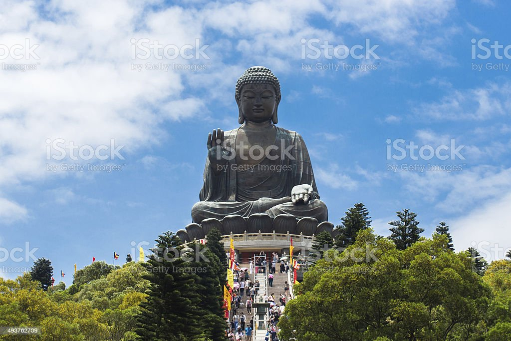 Giant Buddha sitting on lotus stock photo