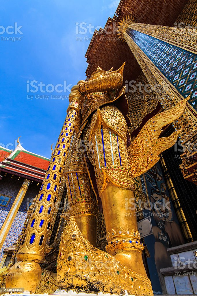 Giant Buddha stands gracefully stock photo