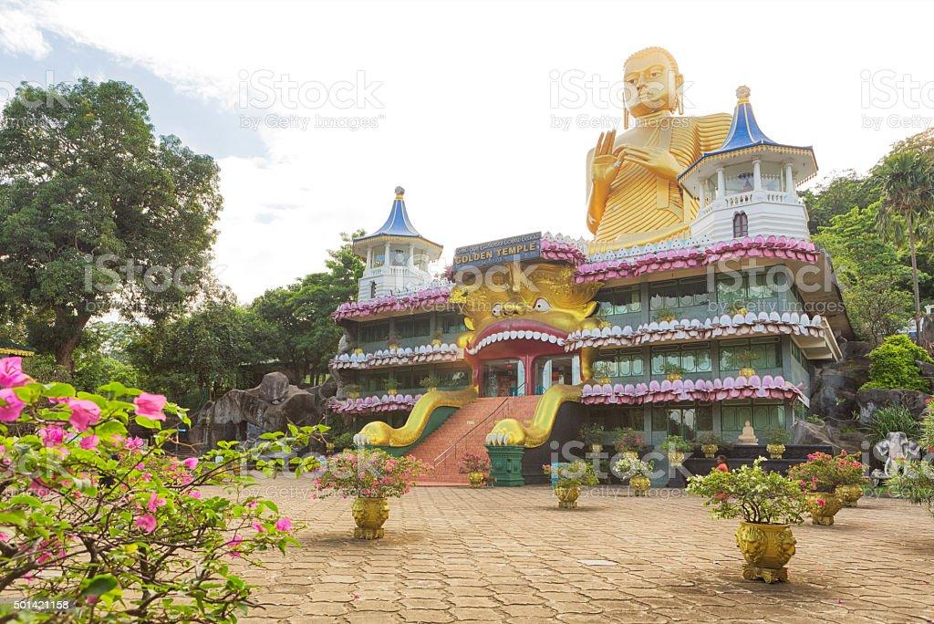 Giant Buddha Statue in front of Dambulla Temple, Sri Lanka stock photo