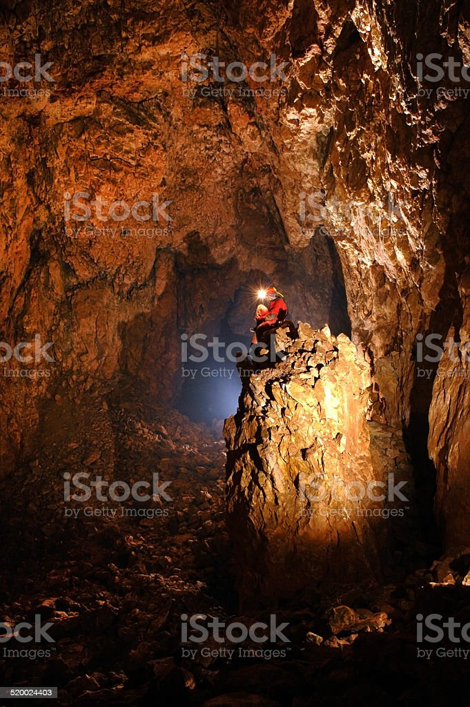 Giant cave hall stock photo