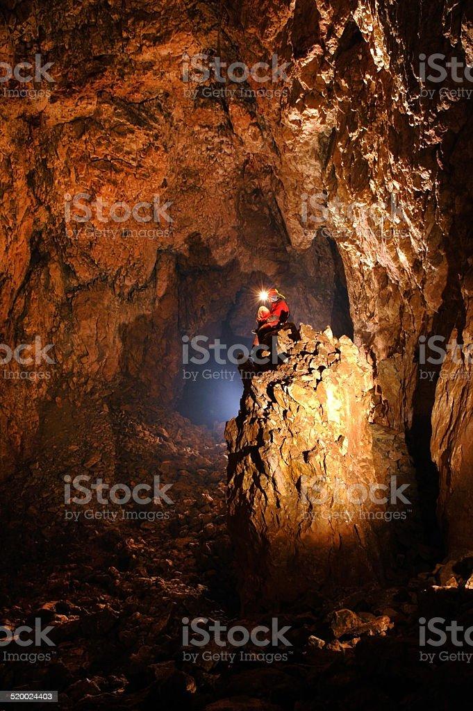 Giant cave hall stock photo