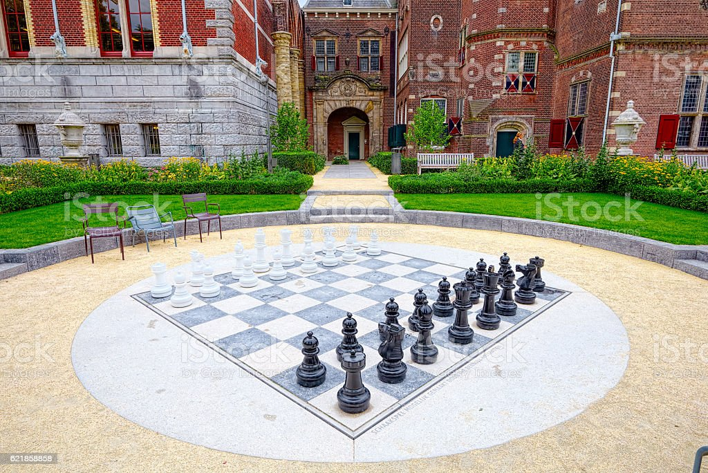 Giant chess library near Amsterdam stock photo