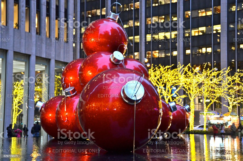 Giant Christmas Ornaments in Midtown Manhattan, NYC stock photo