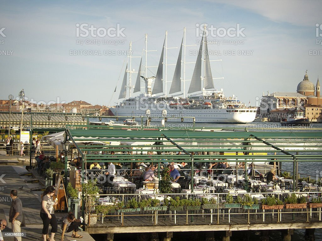 giant cruise ship in venice royalty-free stock photo