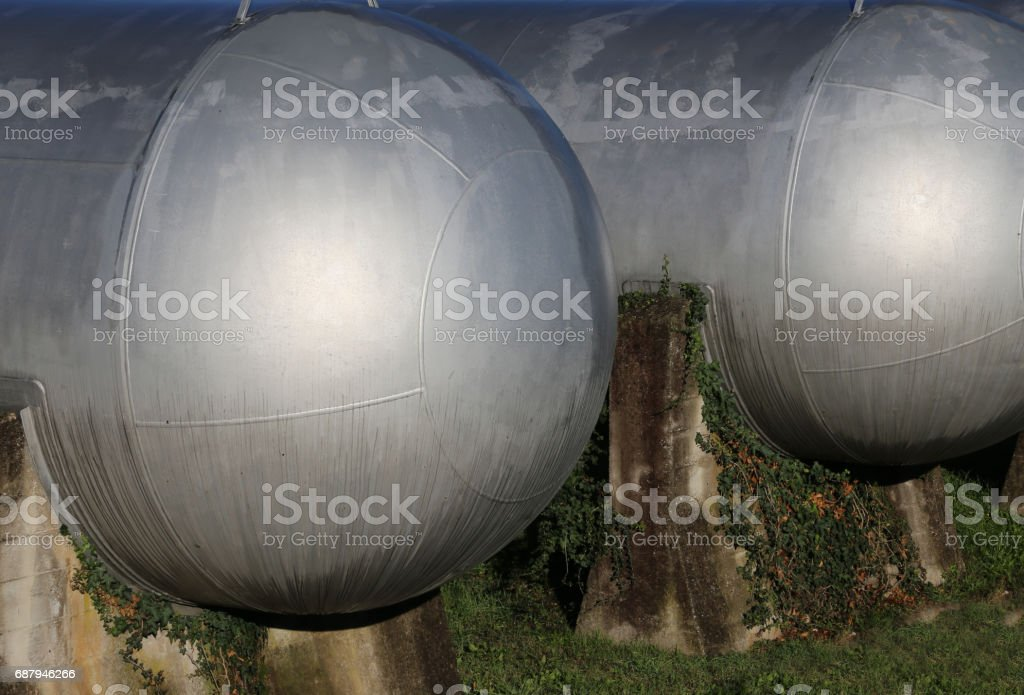 Giant cylindrical tanks stock photo