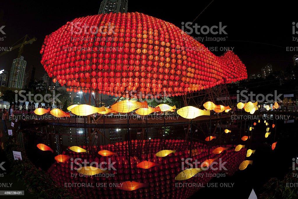Giant fish lanterns in Mid-Autumn Festival stock photo