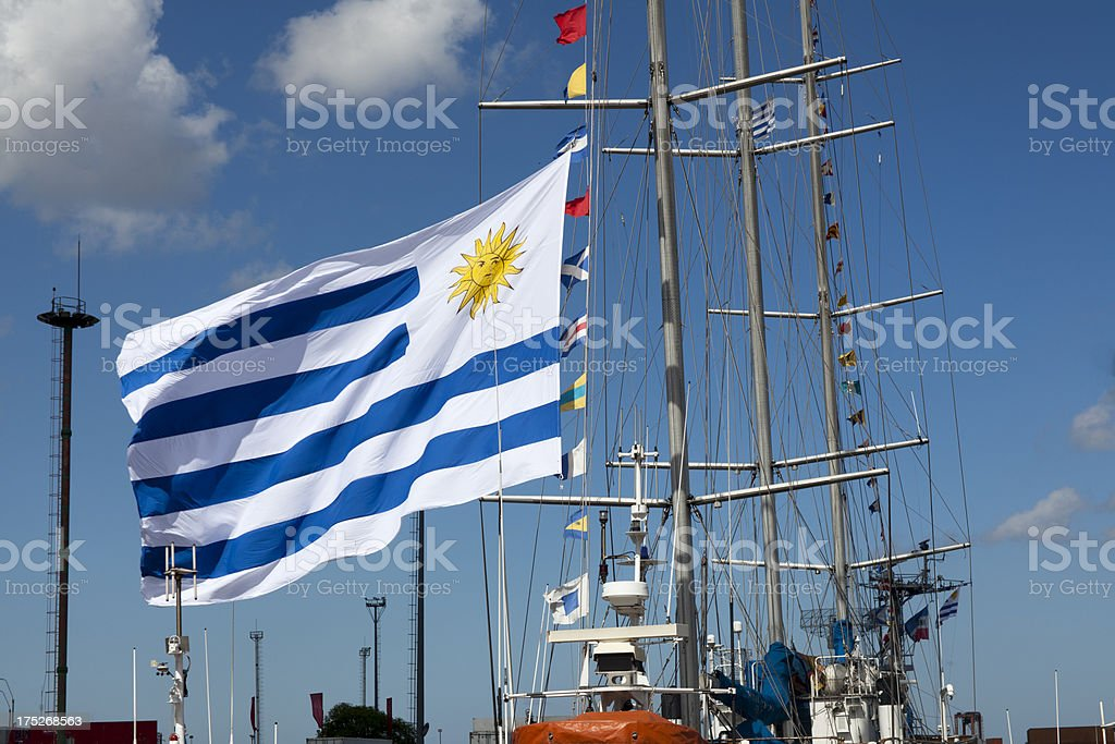 giant flag of Uruguay royalty-free stock photo