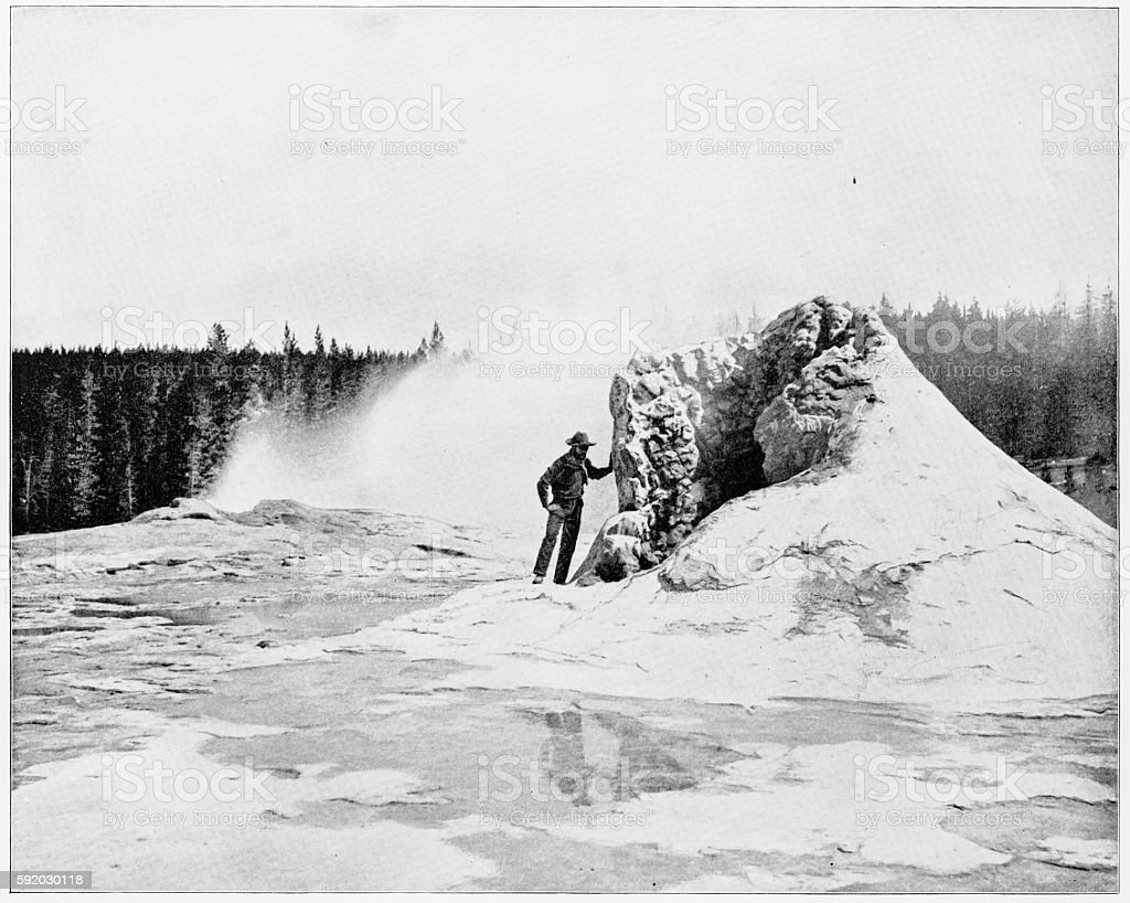 Giant Geyser, Yellowstone National Park, USA in 1880s stock photo