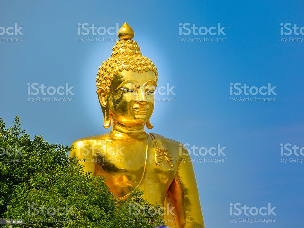 Giant Golden Buddha in the Golden Triangle, Thailand stock photo