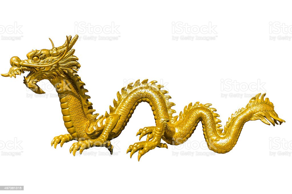Giant golden Chinese dragon on isolate background stock photo