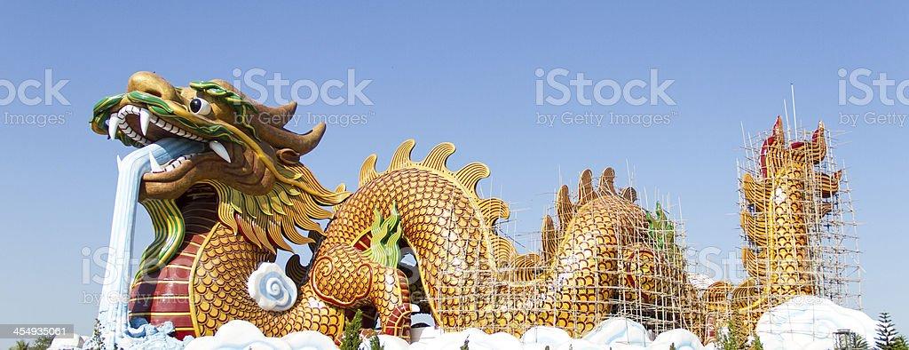 Giant golden dragon royalty-free stock photo