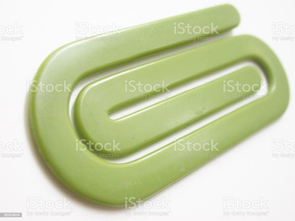 Giant green paper clip royalty-free stock photo