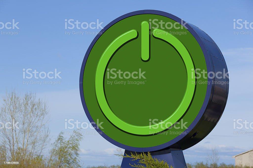 Giant Green Power Button Symbol royalty-free stock photo