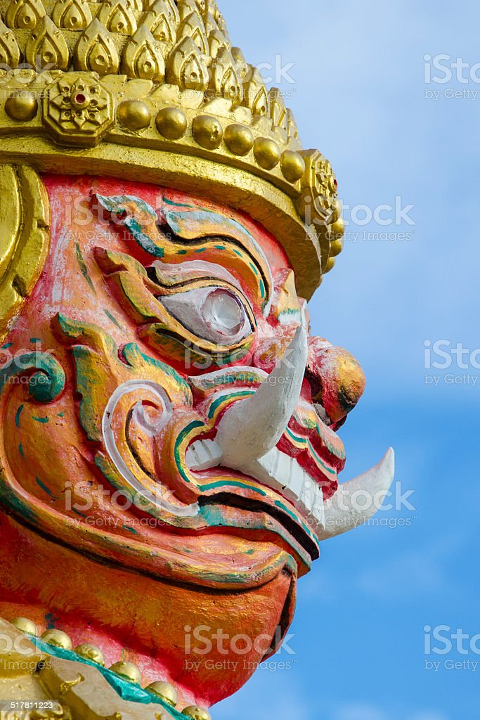 Giant Guardian In Front of Temple In Thailand royalty-free stock photo