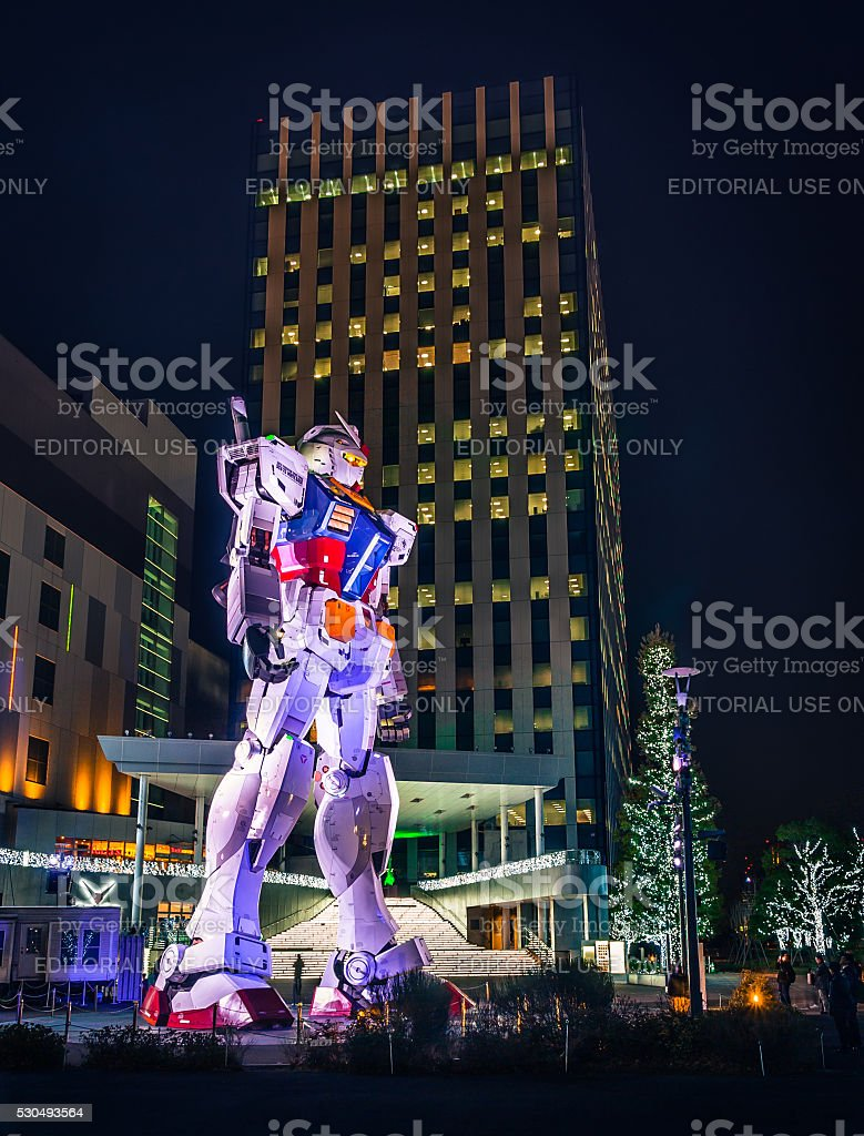 Giant Gundam in Odaiba stock photo