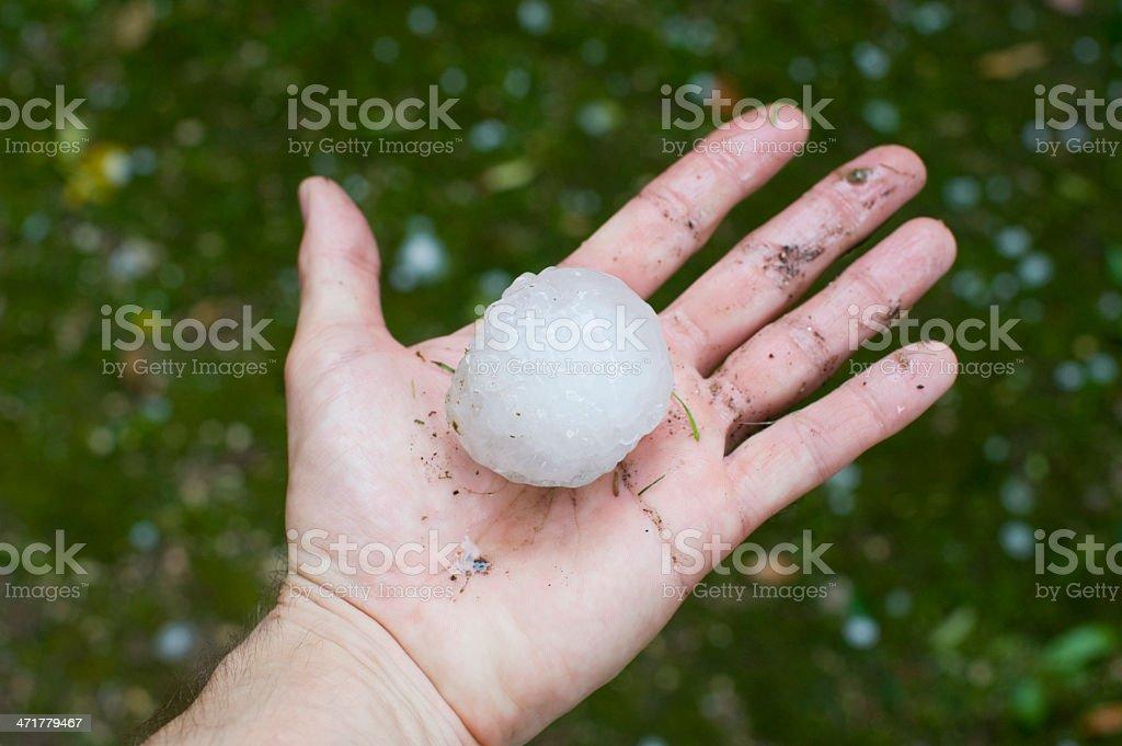 Giant hailstone measuring 5.5cm across. stock photo