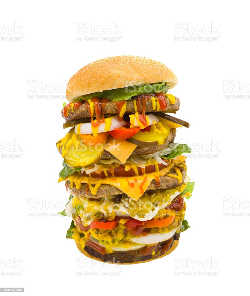 giant hamburger stock photo
