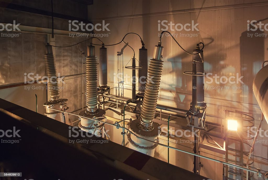Giant insulators for switchgear in the powerhouse stock photo