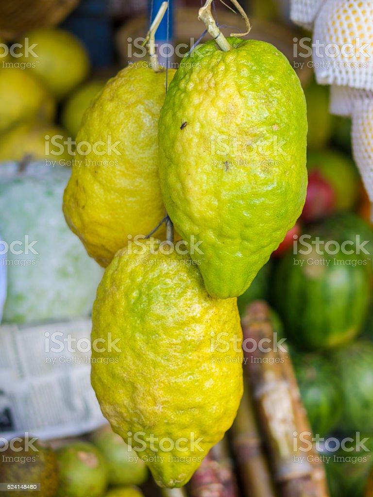 Giant Lemons on Market in Kandy stock photo