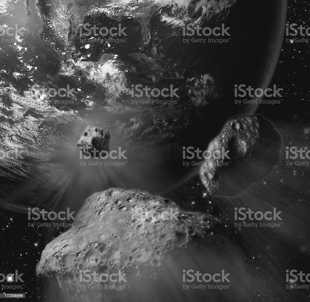 giant meteors from space  crashing Earth royalty-free stock photo