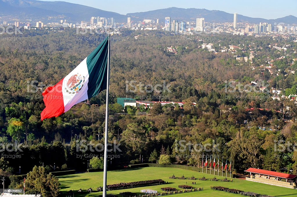 Giant Mexican national flag stock photo