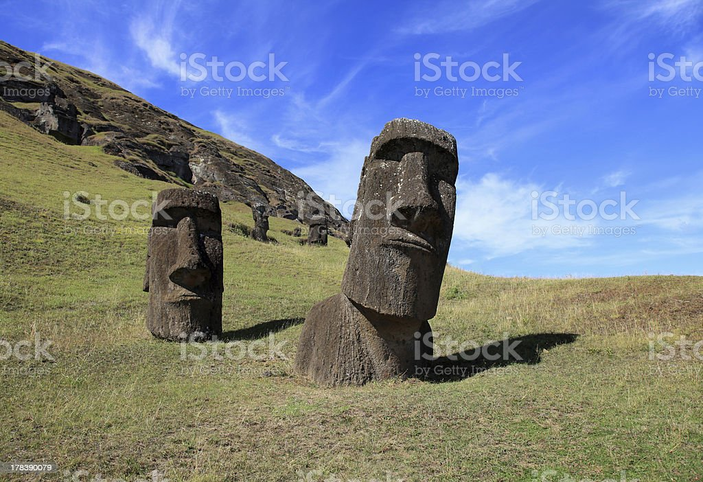 Giant moai heads on Easter Island royalty-free stock photo
