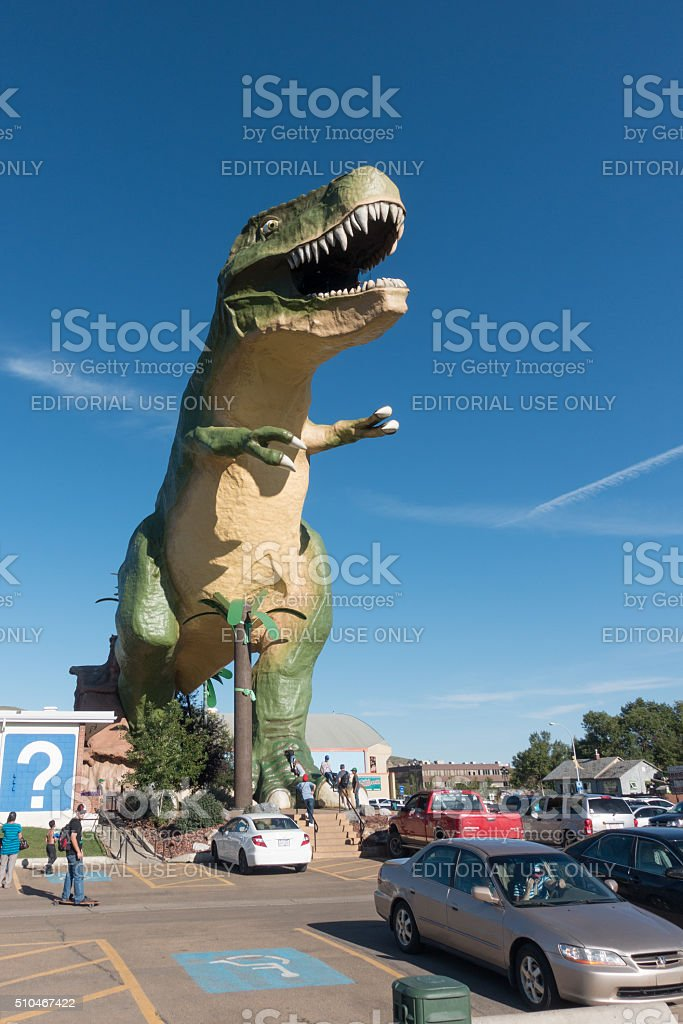 giant model of a Tyrannosaurus Rex Drumheller Canada stock photo