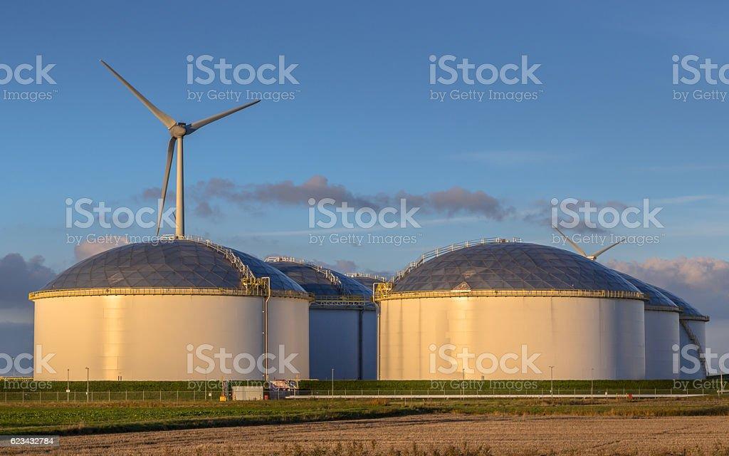 Giant modern oil storage tanks stock photo