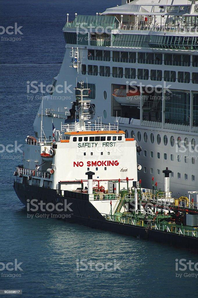 Giant 'No Smoking' sign on tanker ship royalty-free stock photo